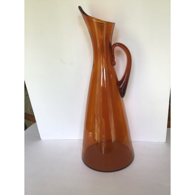 Mid-Century Blenko Orange Pitcher Winslow Anderson For Sale - Image 9 of 9