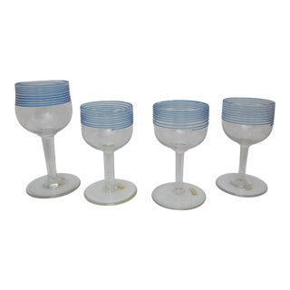 Clear Wine Glass Goblet Set With Blue Threading Set of 4 For Sale
