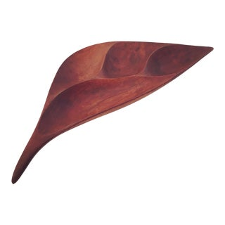 Emil Milan Sculptural Walnut Wood Bowl For Sale
