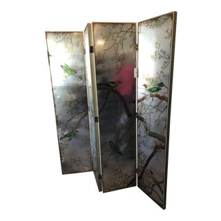 Modern Mirror Backed Bird Room Screen For Sale