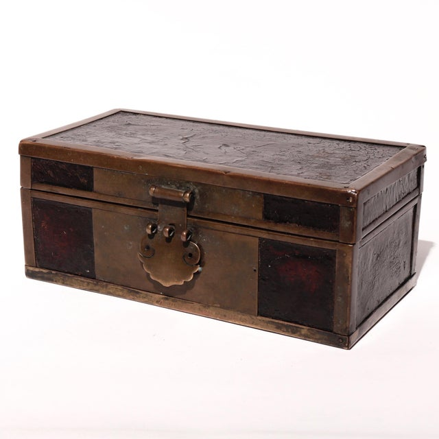 Late 19th Century Late 19th Century Chinese Brass and Lacquered Wood Storage Box For Sale - Image 5 of 9