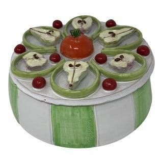 Vintage Green & White Italian Fruit Trompe l'Oeil Pear & Tangerine Round Lidded Box | Mediterranean Kitchen Deor For Sale