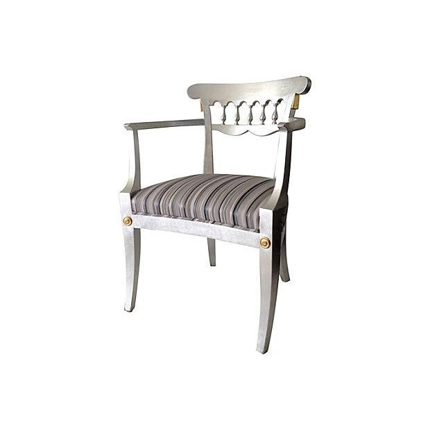 1950's Baker Silver Leaf Klismos Chair - Image 1 of 8