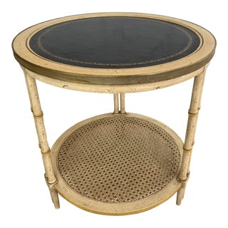 Vintage Faux Bamboo Golden Side Table For Sale