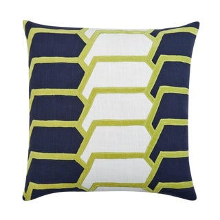 """Piper Collection Navy & Citrus """"Charley"""" Pillow For Sale"""