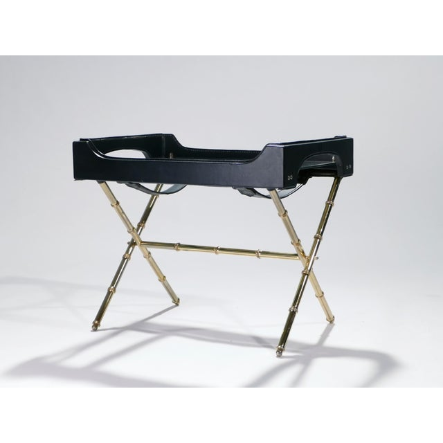 Metal Jacques Adnet Leather and Brass Side Table With Tray, 1950s For Sale - Image 7 of 13