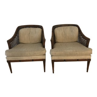 1970s Vintage Cane Bamboo Arm Chairs- A Pair For Sale