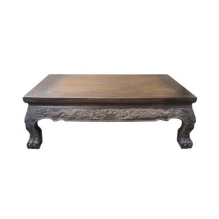 Brown Rosewood Oriental Dragons Carving Rectangular Display Table Stand For Sale