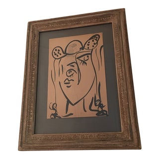 1950s Peter Keil Early Abstract Drawing of Face For Sale