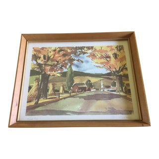 """1950's John Rogers Autumn """"Harvest Time"""" Signed Lithograph"""