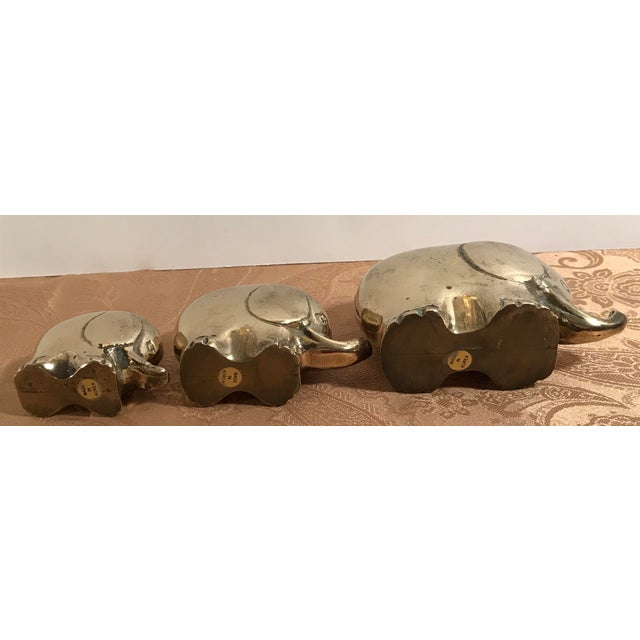 Brass Art Deco Style Brass Elephants - Set of 3 For Sale - Image 7 of 8