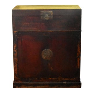 Antique 19th-Century Chinese Faux Bois Red Lacquer Money Chest Cabinet For Sale