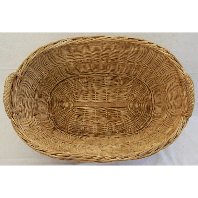 Early 1900s Woven French Country Market Basket - Image 4 of 8