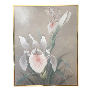 1980s Vintage Iris Flower Oil on Canvas Painting For Sale