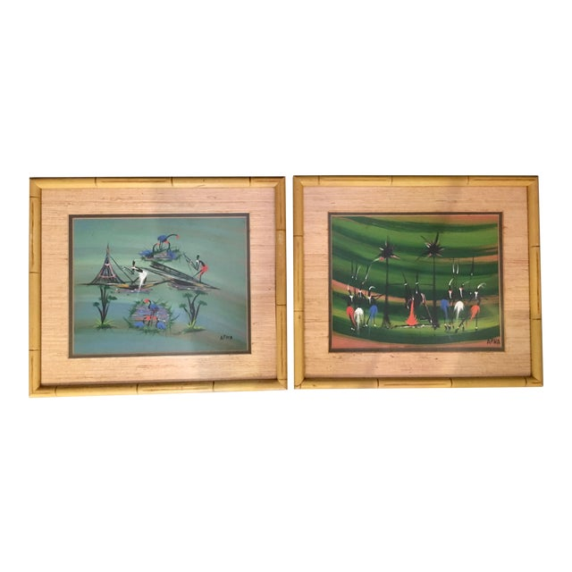 Stylized African Scenes Paintings - a Pair - Image 1 of 8