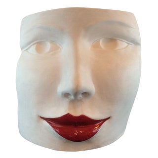 """Red Lips Face"" Terra Cotta Sculpture by Ginestroni - in Showroom For Sale"