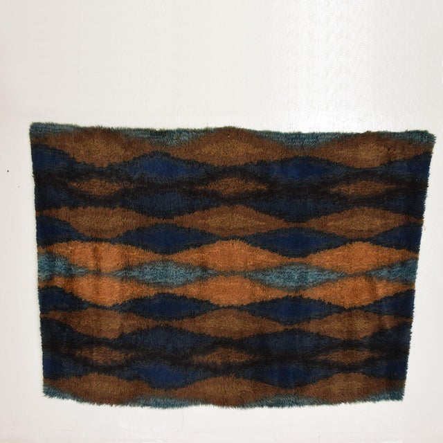 Blue Mid Century Danish Modern Rya Rug With Beautiful Blue Tone Graphics For Sale - Image 8 of 8
