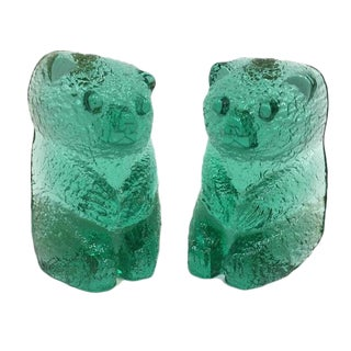 Vintage Blenko Glass Mint Green Bear Sculptures/Bookends - a Pair For Sale