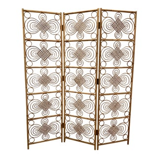 Vintage Mid Century Delicate Bamboo Room Divider For Sale