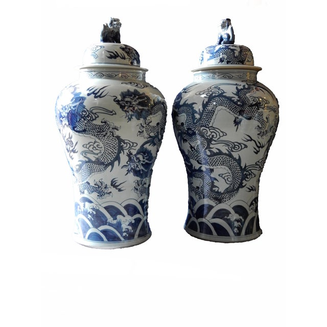 Mansion Size H. Painted Dragon Ginger Jars - a Pair - Image 6 of 9