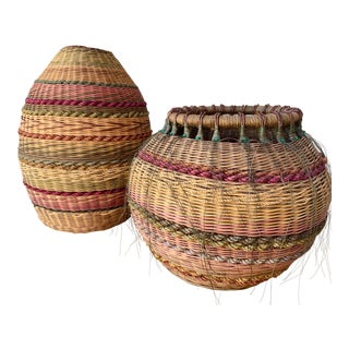 Late 20th Century Vintage Hand Woven Baskets- A Pair For Sale