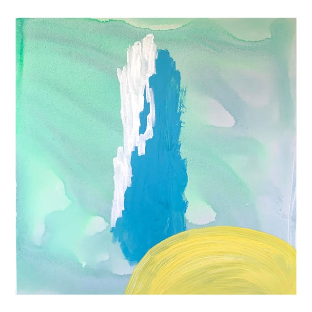 Blue and Yellow Landscape Painting by Matthew Izzo For Sale