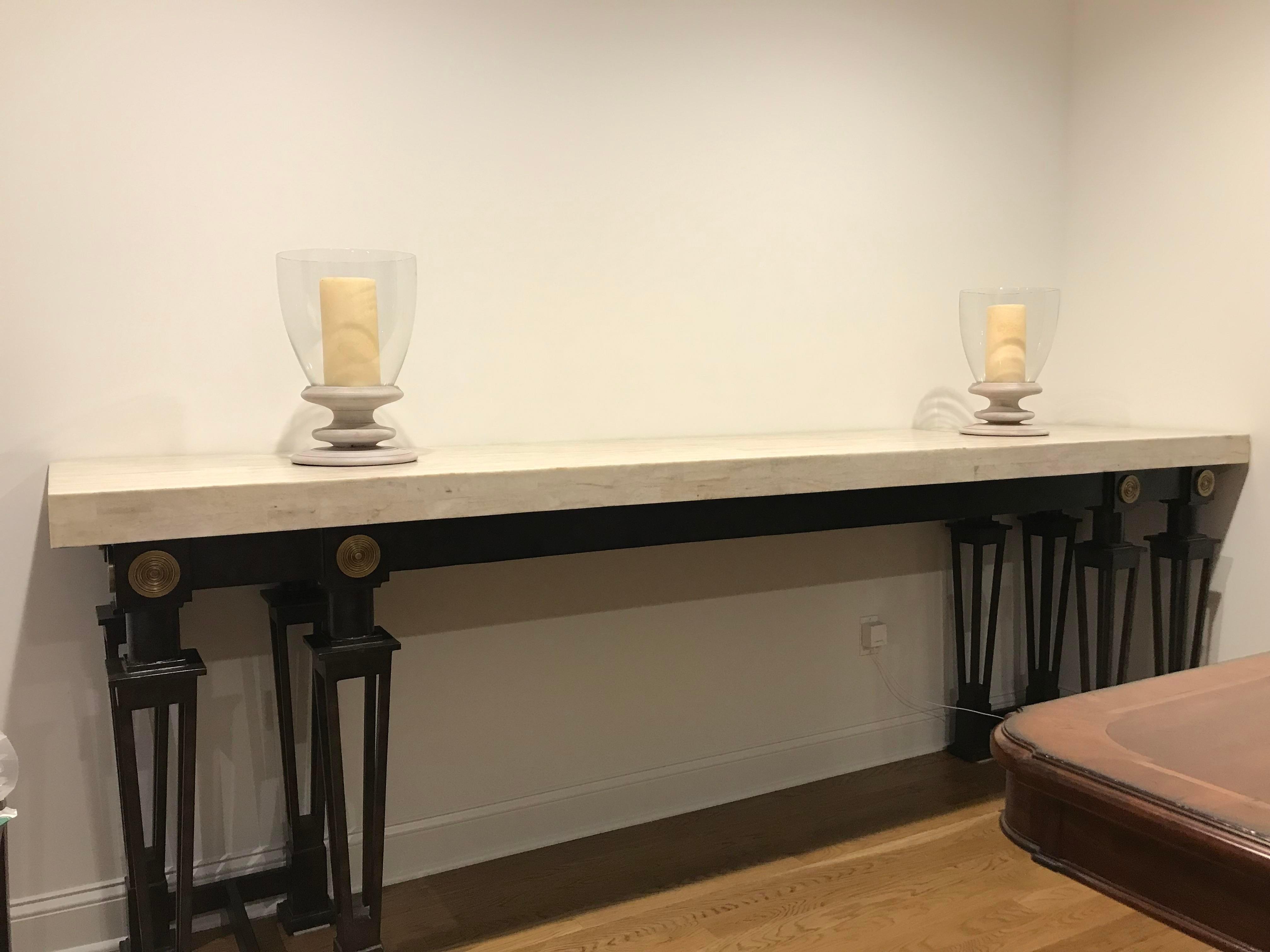 maitland smith stone and iron buffet table chairish rh chairish com