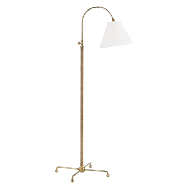 Curves No.1 1 Light Floor Lamp W/ Rattan Accent - Agb For Sale