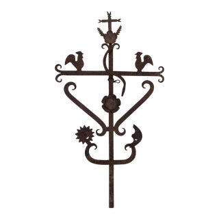 Antique Iron Cross With Chickens