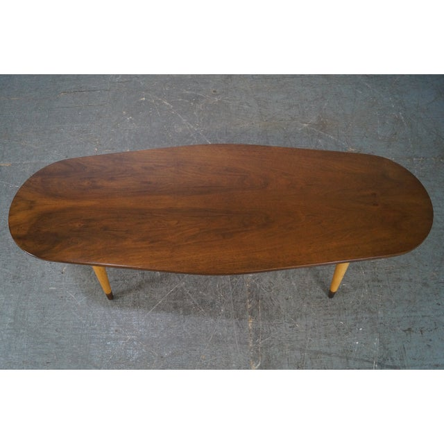 Mid Century Swedish Modern Oval Walnut Coffee Table For Sale - Image 4 of 10