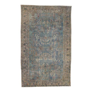 Light Blue Antique Persian Kerman 'Kirman' Distressed Rug