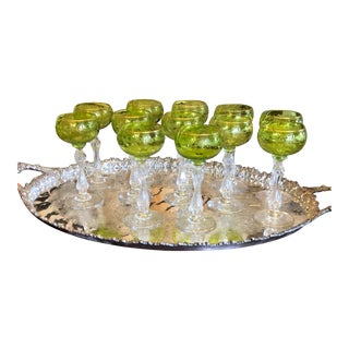 Set of 12 Antique St. Louis French Chartreuse Crystal Hock Wine Stems For Sale