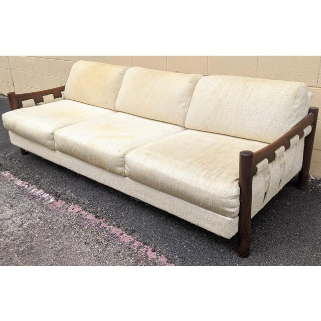 Boho Chic Walnut Frame Adrian Pearsall-Style Sofa by Craft Associates For Sale - Image 3 of 10