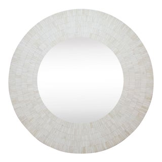 Attractive Bone Inlay White Round Mirror For Sale