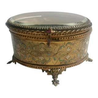 Late 1800s French Jewelry Casket Jewelry Box With Hand Painting and Silk Interior For Sale