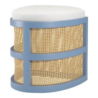 Isabella Demi Stool - Summer Mist Blue, Optic White Linen For Sale