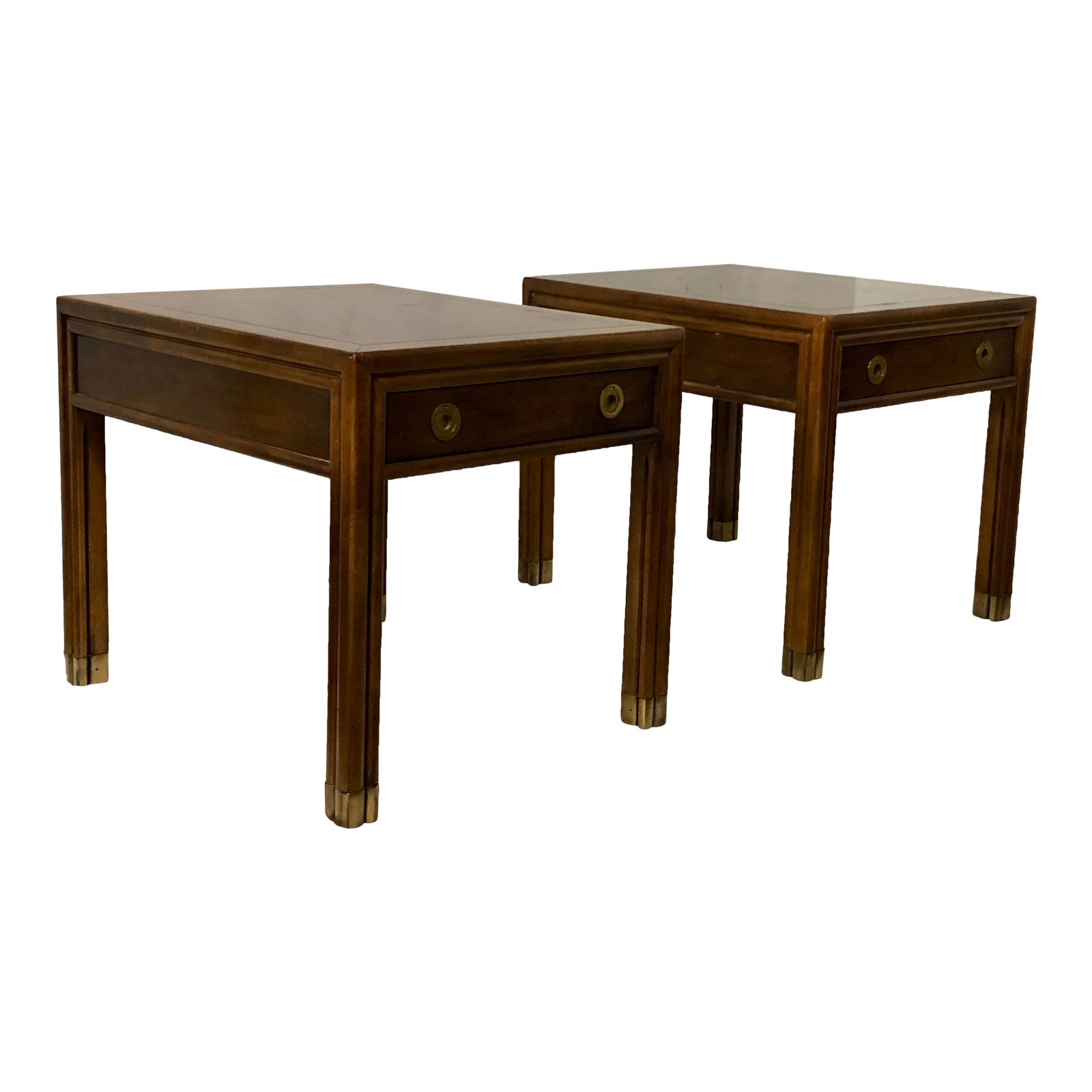 Pair Of Henredon Campaign Style End Tables Chairish