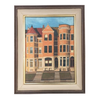 1961 Cityscape Painting on Canvas