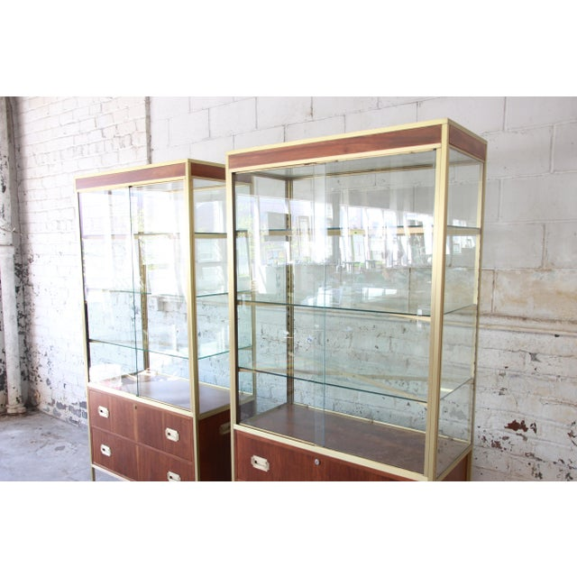 Metal Baker Furniture Hollywood Regency Campaign Style Lighted Display Cabinets - a Pair For Sale - Image 7 of 13