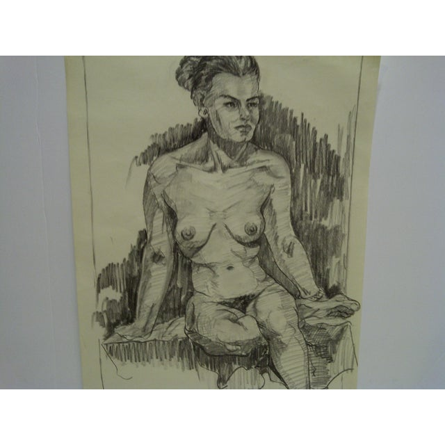 "Figurative ""Very Serious Nude II"" Original Drawing on Paper For Sale - Image 3 of 5"