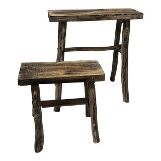 Pair of Vintage Small Asian White Washed Rubbed Wood Painted Side Tables/Stands For Sale