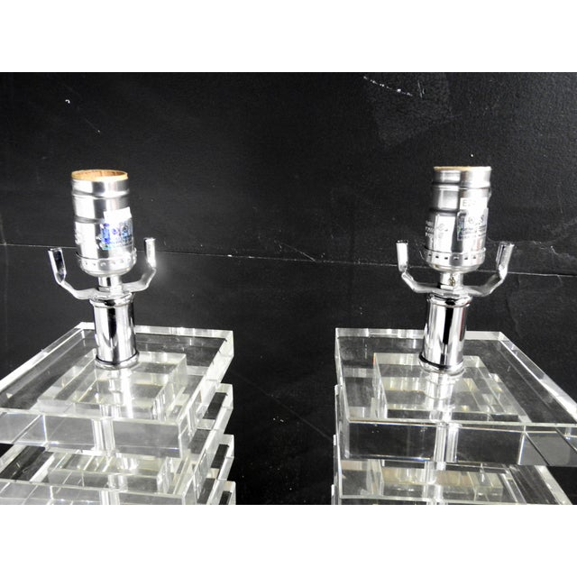 Mid Century Modern Glass Block Lamps - A Pair For Sale - Image 4 of 5