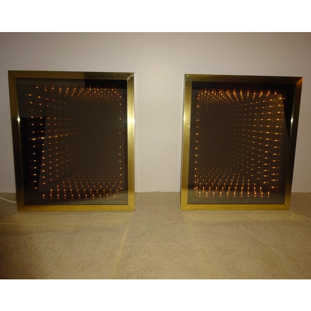 Vintage Brass & Burl Wood Infinity Mirrors - a Pair - Image 2 of 10