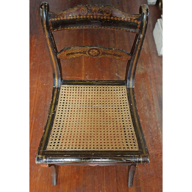 Antique Hand Painted Caned Chair - Image 3 of 5