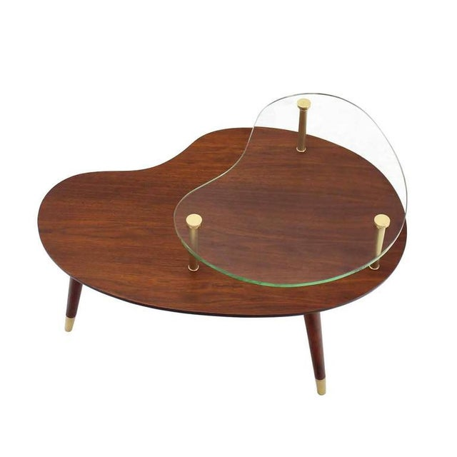 Wood Vintage Mid Century Walnut Glass & Brass Organic Shape Side Table For Sale - Image 7 of 10
