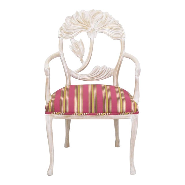 Four Lime Wash Floral Carved Dining Chairs In the Manner Of Phyllis Morris - Image 1 of 9