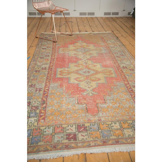 "Vintage Distressed Oushak Rug - 4'7"" x 8'4"" For Sale - Image 9 of 11"