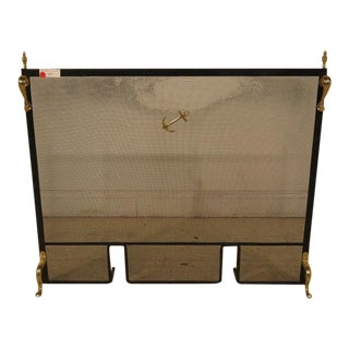 Anchor Design Iron & Brass Fireplace Screen For Sale