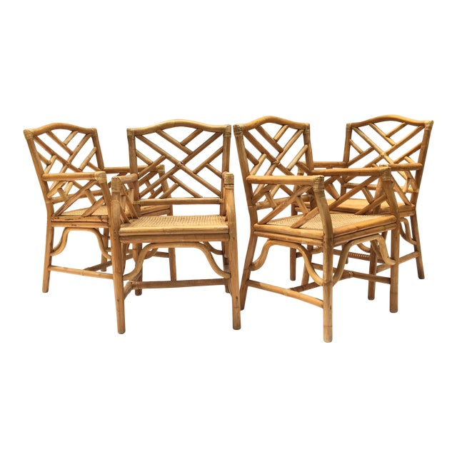 Bamboo Dining Room Chairs: Chinese Chippendale McGuire Style Rattan Bamboo Arm Dining