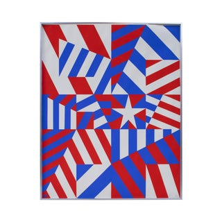 Red, White, and Blue Geometric Print by Norman Ives For Sale